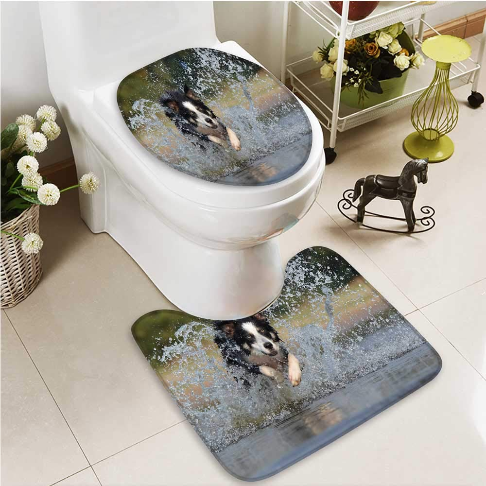 color7 L21\ color7 L21\ Printsonne Cushion Non-Slip Toilet Mat A Dog Running Wild in The Water Soft Non-Slip Water