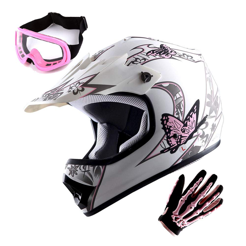 WOW Youth Motocross Helmet BMX MX ATV Dirt Bike Helmet Matt Butterfly Pink White + Goggles + Skeleton Pink Glove Bundle Power Gear Motorsports HJOY_HBOY_Bundle