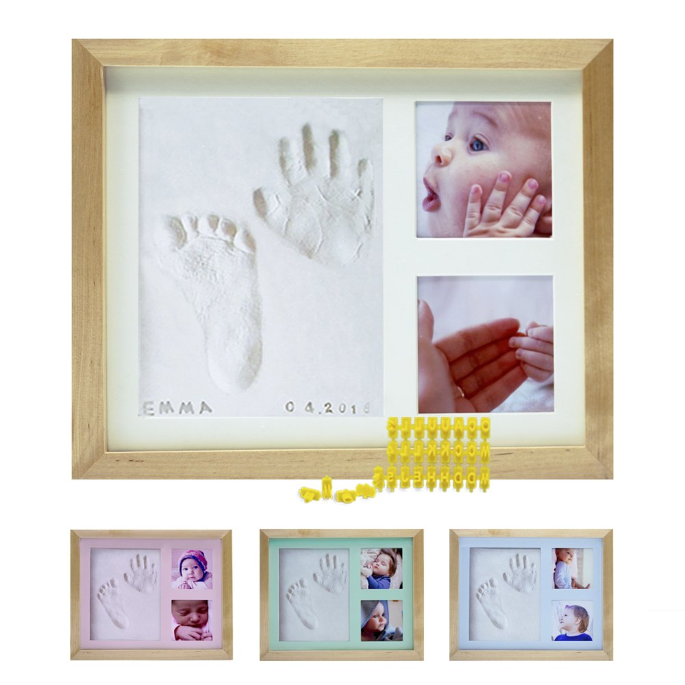Baby Handprint Footprint Photo Frame Kit by Kubai for Newborn Girls & Boys (Free Date & Name Stamp) Choice of Mats to fit Room Wall Nursery - Mold Free - Best Personalized Gifts for Shower Registry. by Kubai (Image #1)