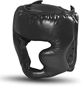 SANJOIN Boxing Headgear, Synthetic Leather MMA Headgear, UFC Fighting Head Guard Sparring Helmet, Black