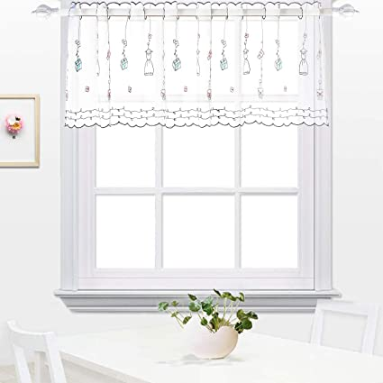 White Kitchen Semi Sheer Valances Tier Curtain Cafe Dining Room Sunshine