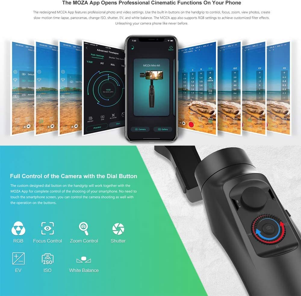 S8 S7 Sony z5 Wireless Phone Charging Vertical Shooting Inception Mode Stunning Motion Timelapse MOZA MINI MI 3-Axis Handheld Gimbal Stabilizer for Smartphone iPhone X 8 7 6 Plus Samsung Galaxy S9//S9