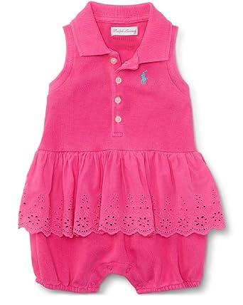 Ralph Lauren bebé niña sin mangas polo Shortall rosa Hot Magenta ...