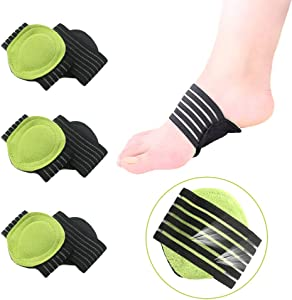 Arch Support Sleeves, 3 Pairs Compression Fasciitis Cushioned Support Sleeves, Plantar Fasciitis Foot Relief Cushions for Plantar Fasciitis, Fallen Arches, Achy Feet Problems for Men and Women