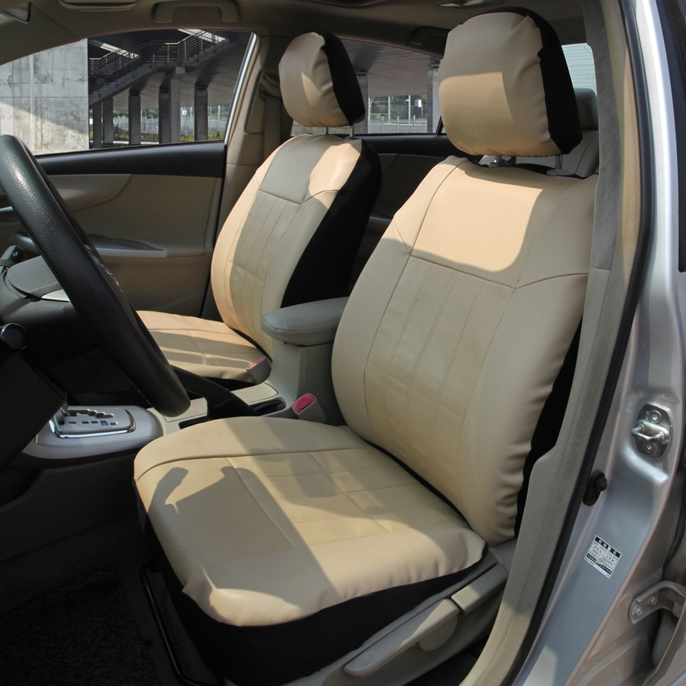 Leader Accessories Auto Low Back Leather Front Car Seat Covers with Airbag Universal 2 Fronts Seat Protector Beige