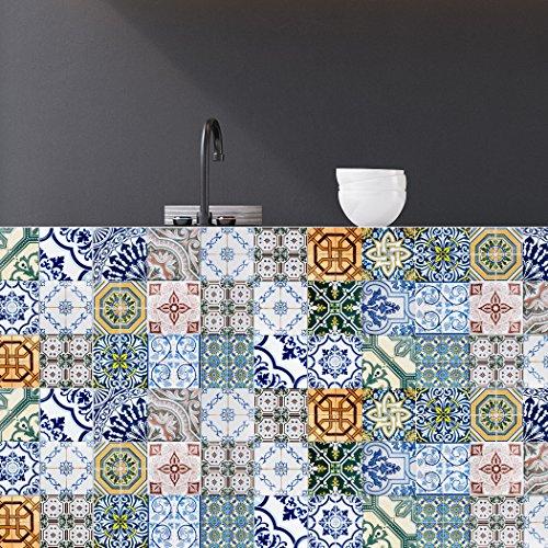RoyalWallSkins Tile Decals 4x4 Inch - Set of 16 - Self Adhesive Peel and Stick Tile Stickers for Kitchen Backsplash Bathroom Vinyl Waterproof (Evora TAD170201)