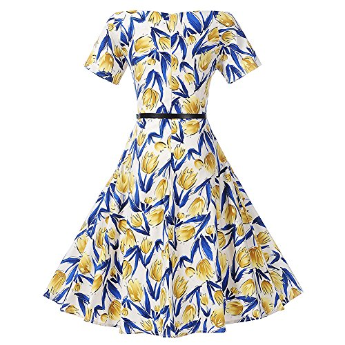iShine La Sra estampado retro vestidos Champán
