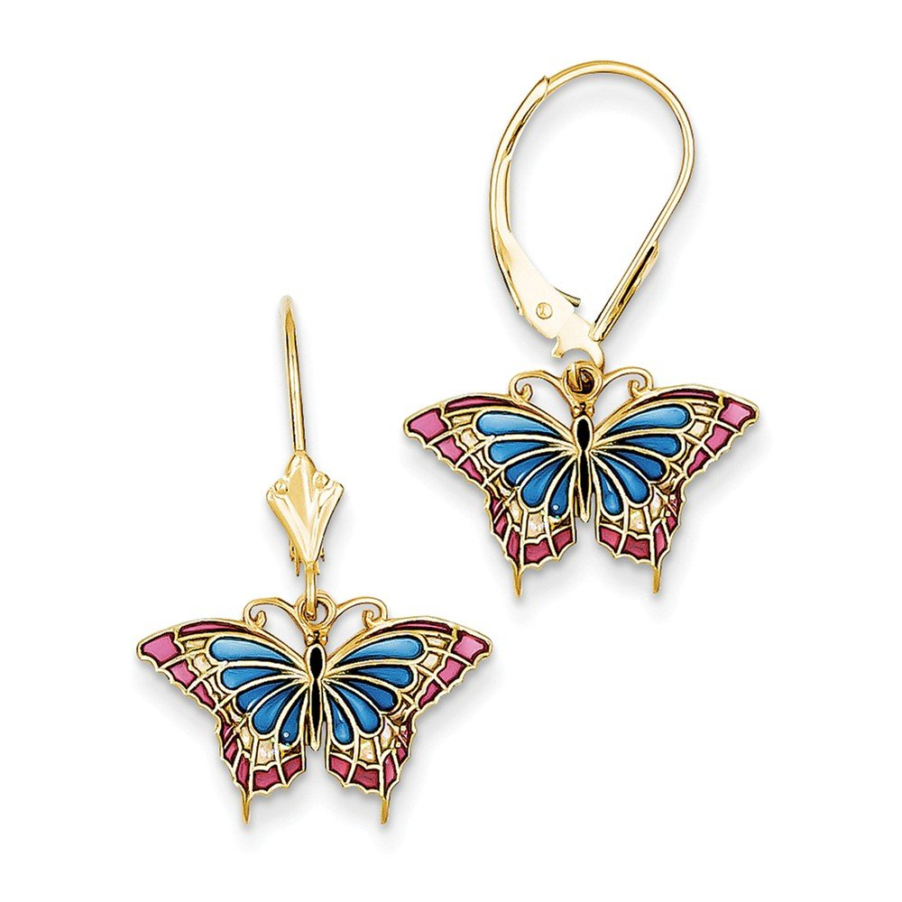 14k Butterfly w/ Blue Stained Glass Leverback Earrings by Jewels By Lux