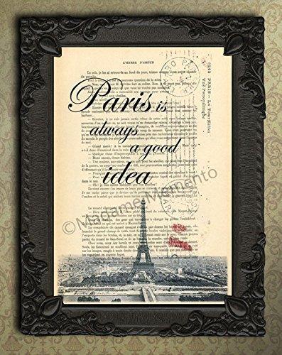 (Paris is always a good idea art print, antique parisian postcard artwork, eiffel tower decor, France wall decorations, Audrey Hepburn quote)