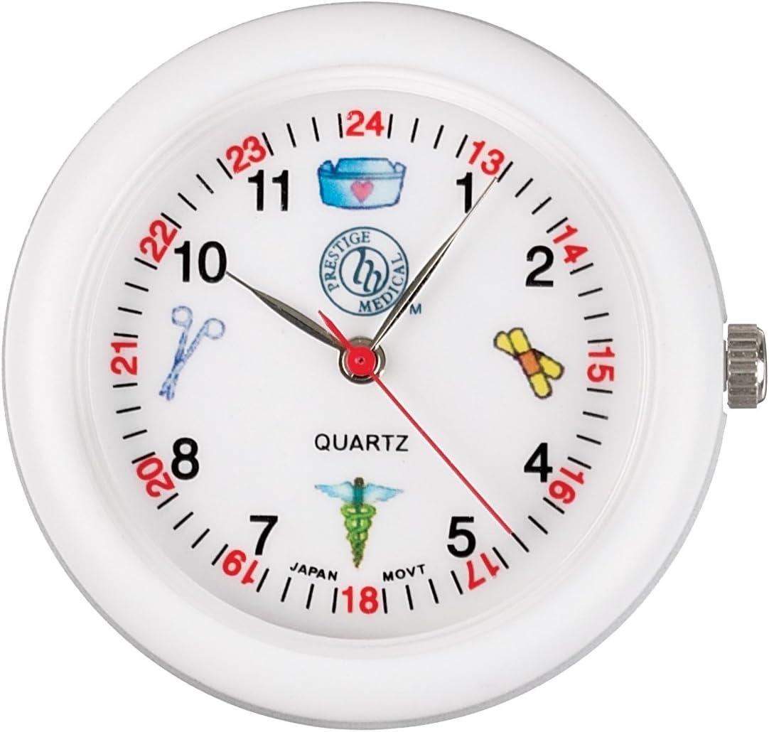 Prestige Medical Analog Stethoscope Watch with Medical Symbols, White