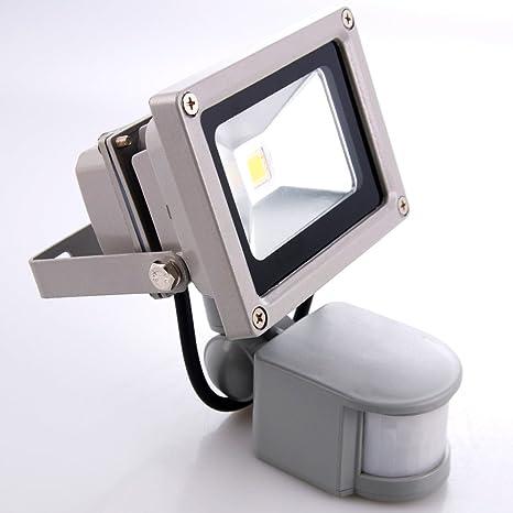 Sourcing4U X1-10w-FL-GR-W-PIR Reflector LED con sensor