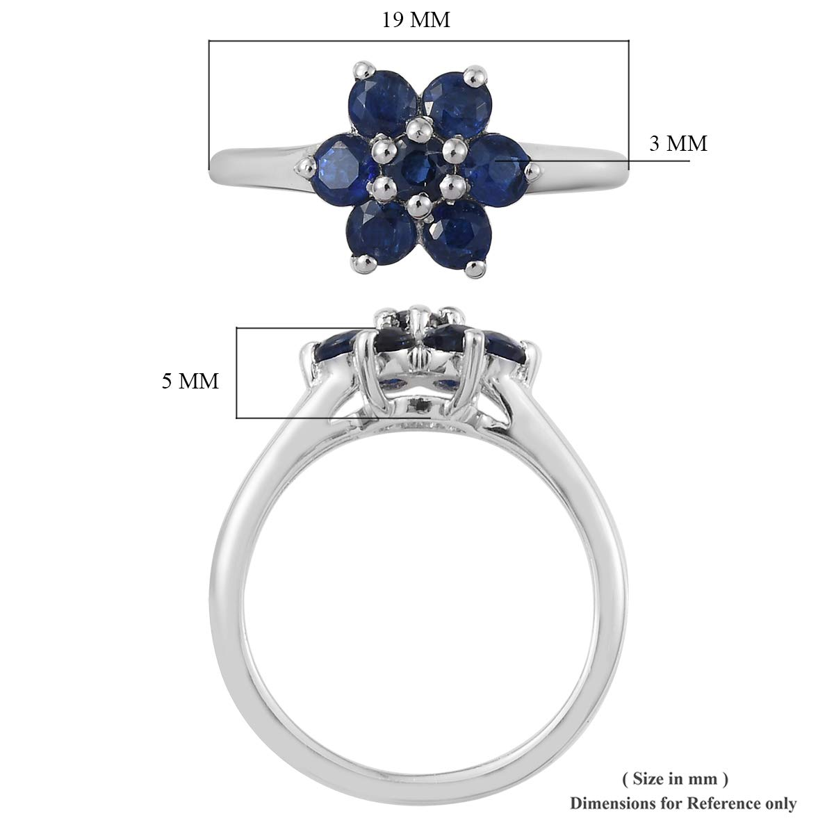Flower Ring 925 Sterling Silver Platinum Plated Round Kyanite Jewelry for Women Size 7 Ct 0.9