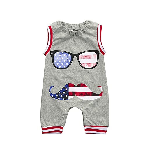 150931531eb3 Clothful 💓 US Flag Newborn Toddler Baby Boy Kids Romper Jumpsuit Glasses Clothes  Outfits (0