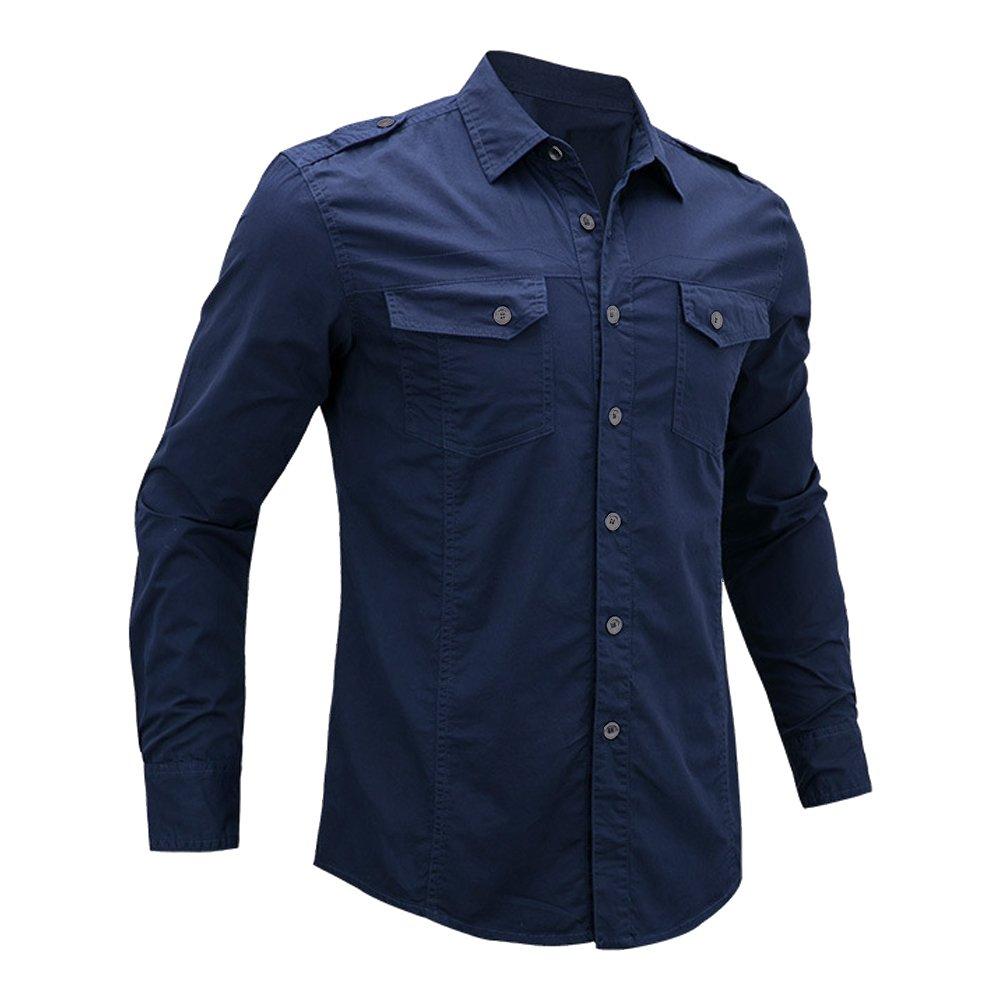 625b6e5339d OCHENTA Men s Long Sleeve Military Style Cargo Tactical Work Shirt   Amazon.co.uk  Clothing