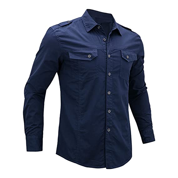 fff3b9b95a4 Men s Long Sleeve Military Style Cargo Tactical Work Shirt  172 Naby Blue  X-Large