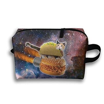 Travel Bag Space Cat Hamburger Cosmetic Bags Brush Pouch Portable Makeup Bag Zipper Wallet Hangbag Pen Organizer Carry Case Wristlet Holder