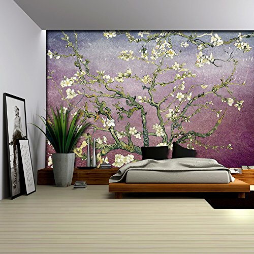 Lavender with Burgundy Vignette Almond Blossom by Vincent Van Gogh Wall Mural