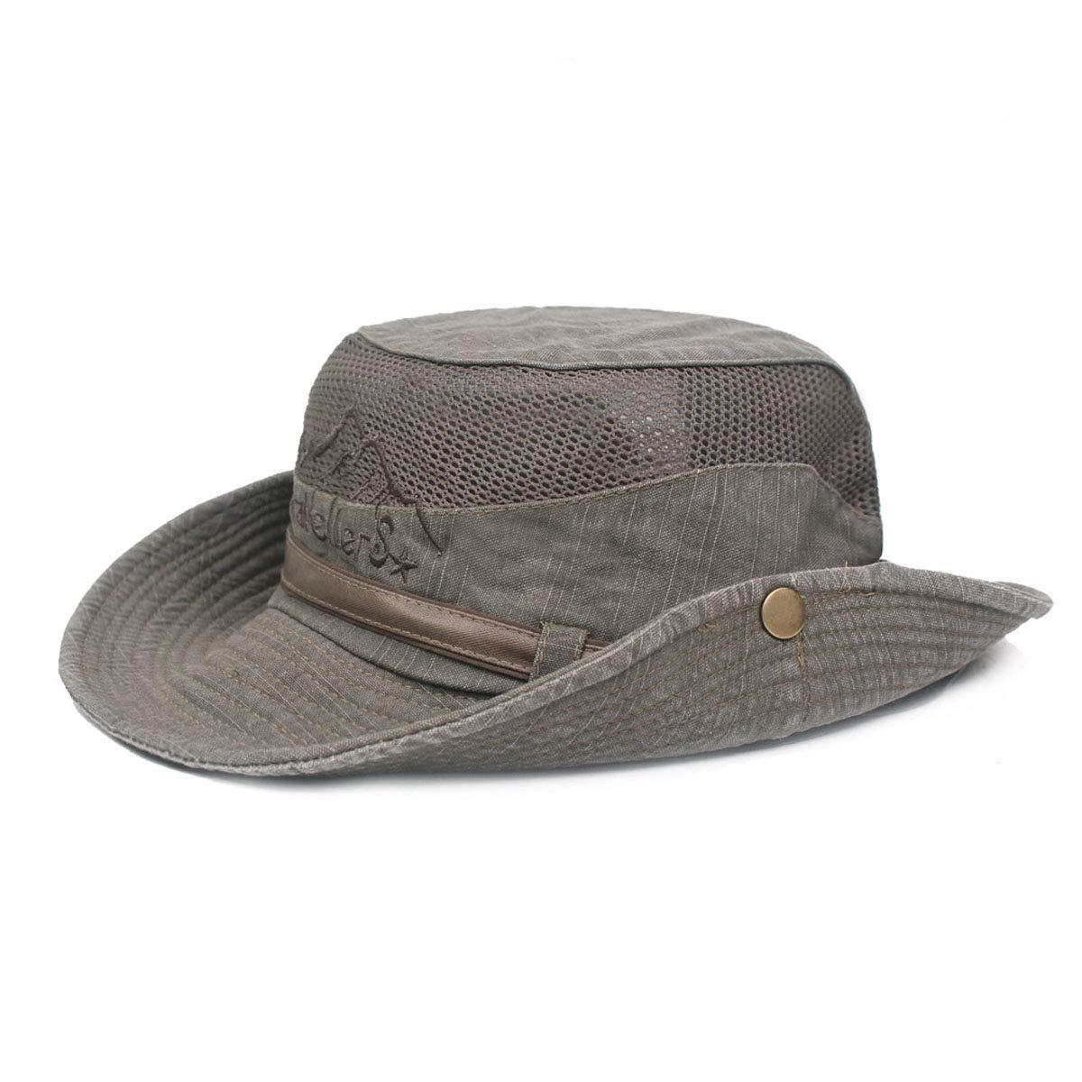 84b99632aa1 King Star Men Summer Cotton Cowboy Sun Hat Wide Brim Bucket Fishing Hats  Army Green at Amazon Men s Clothing store