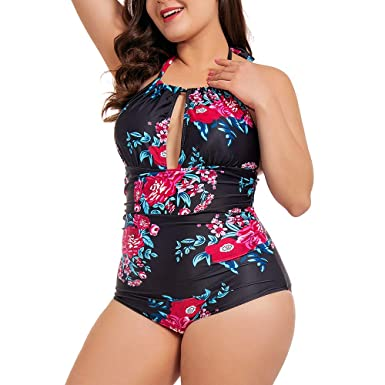 7bfd824362d NUONITA One Piece Swimsuits for Women Plus Size Tummy Control Swimwear  Backless Monokini Bathing Suits at Amazon Women's Clothing store: