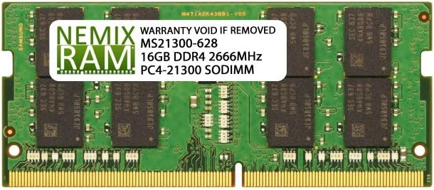16GB (1x16GB) DDR4-2666MHz PC4-21300 2Rx8 1.2V SODIMM Laptop Memory