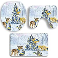 Todaies 3PCS Christmas Bathroom Non-Slip Pedestal Rug + Lid Toilet Cover + Bath Mat Set