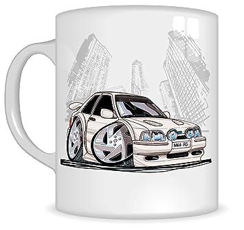 Regalos de Koolart k187-mg dibujos animados de Ford Escort RS Turbo - Caricatura Blanco Ford para hombre de regalo de taza (tazas): Amazon.es: Coche y moto