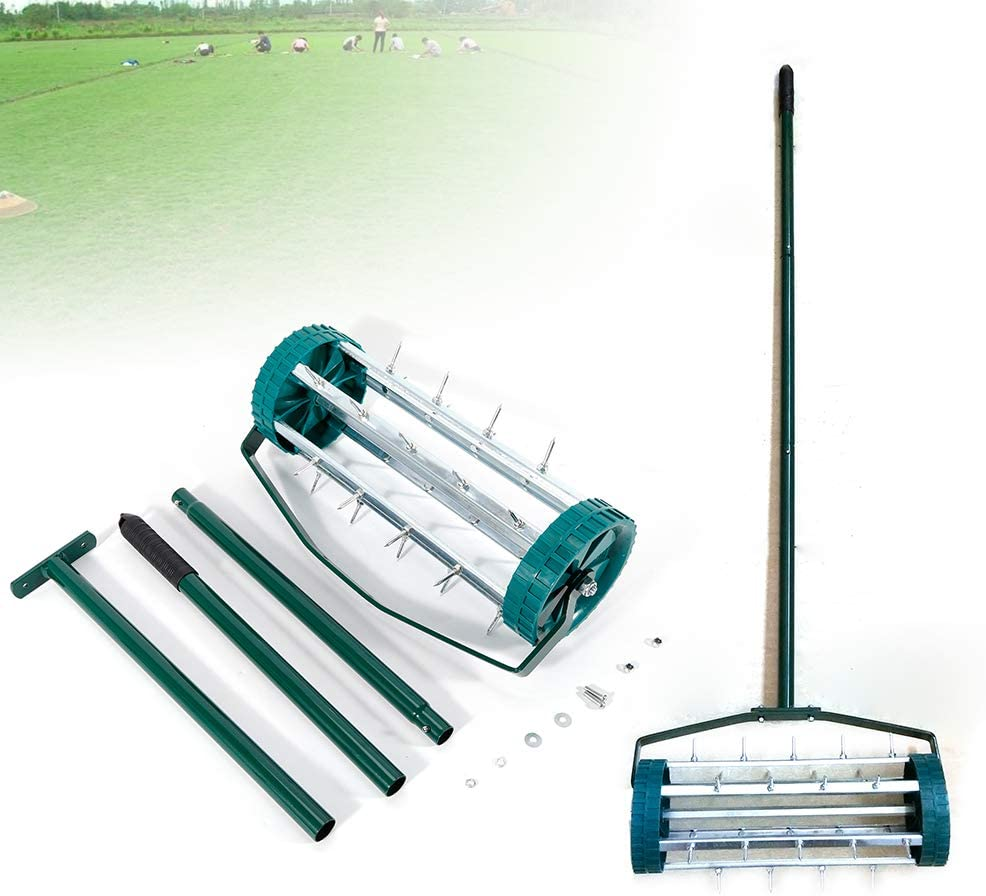 DENESTUS 18 Inch Heavy Duty Rolling Garden Lawn Aerator Roller Home Aerator Roller Rolling Grass Steel Handle Kits Green Quick and Easy to Assemble