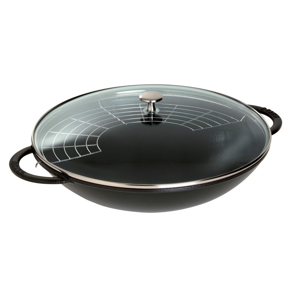 Staub 1313923 Cast Iron Wok, 6-quart, Black Matte