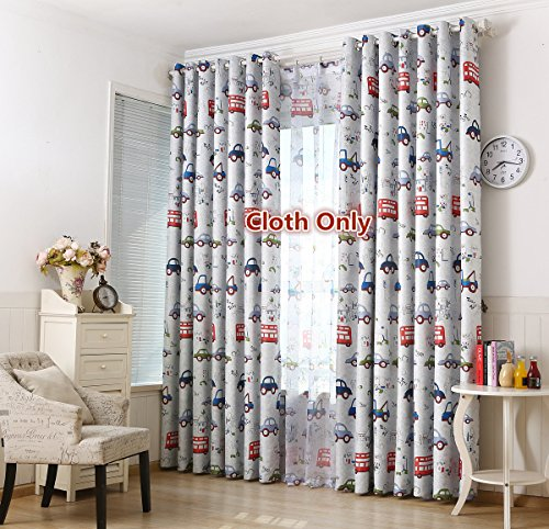 WPKIRA Window Treatment Blackout Curtains Room Darkening Thermal Insulated Blackout Grommet Top Window Curtain Printing Cartoon Cars Drapes Panel for Kids Bedroom,1 Panel W40 x L84 inch