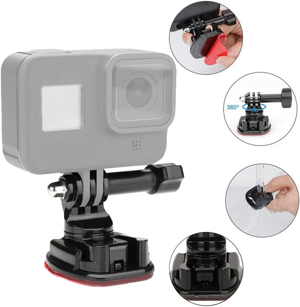 for OSMO Action Sports Camera Serounder Suction Cup Base Adapter,ABS Black Motion Camera Nano Suction Cup Quick Release Base Mount Adapter Photography Accessory for Gopro 8