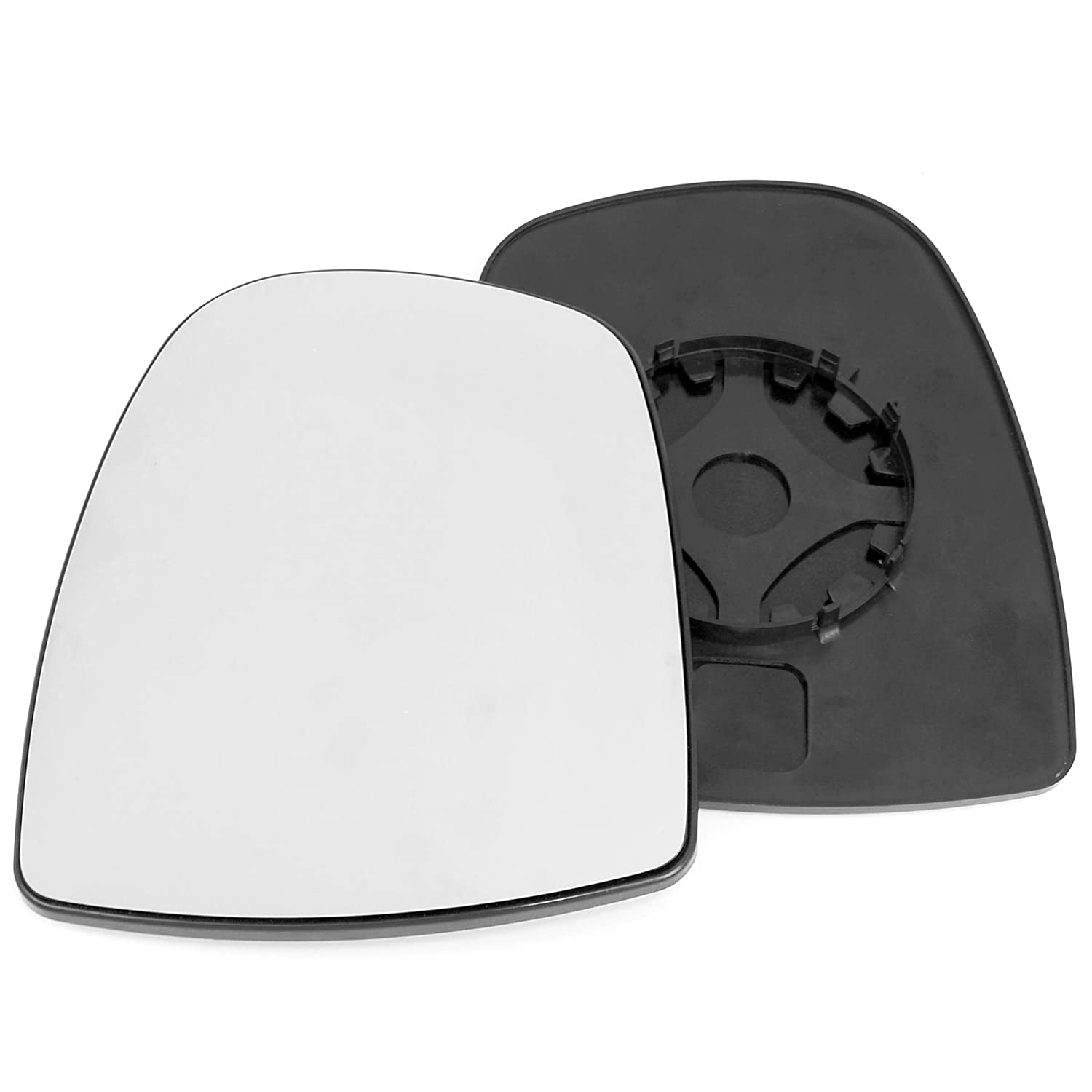 Passenger left hand side wing door Silver mirror glass with backing plate #C-SN/L-NNPSR02 [Clip On]
