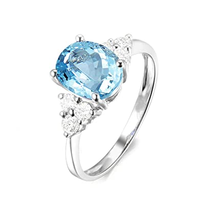 AMDXD Jewelry 925 Sterling Silver Wedding Rings for Women Blue Oval Cut Topaz Oval Ring