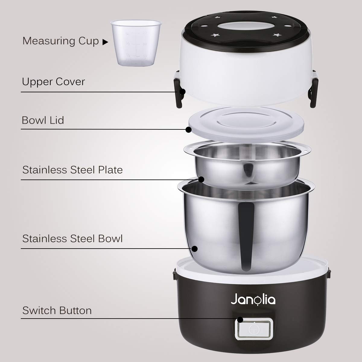 Janolia Electric Food Steamer, Portable Lunch Box Steamer with Stainless Steel Bowls, Measuring Cup by Janolia (Image #4)