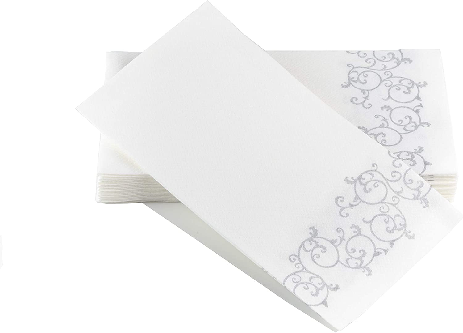 Simulinen Guest Towels for Bathroom - Silver Floral - Disposable Paper Towels - Box of 100 - Perfect Size: 12x17 inches Unfolded & 8.5x4 inches Folded
