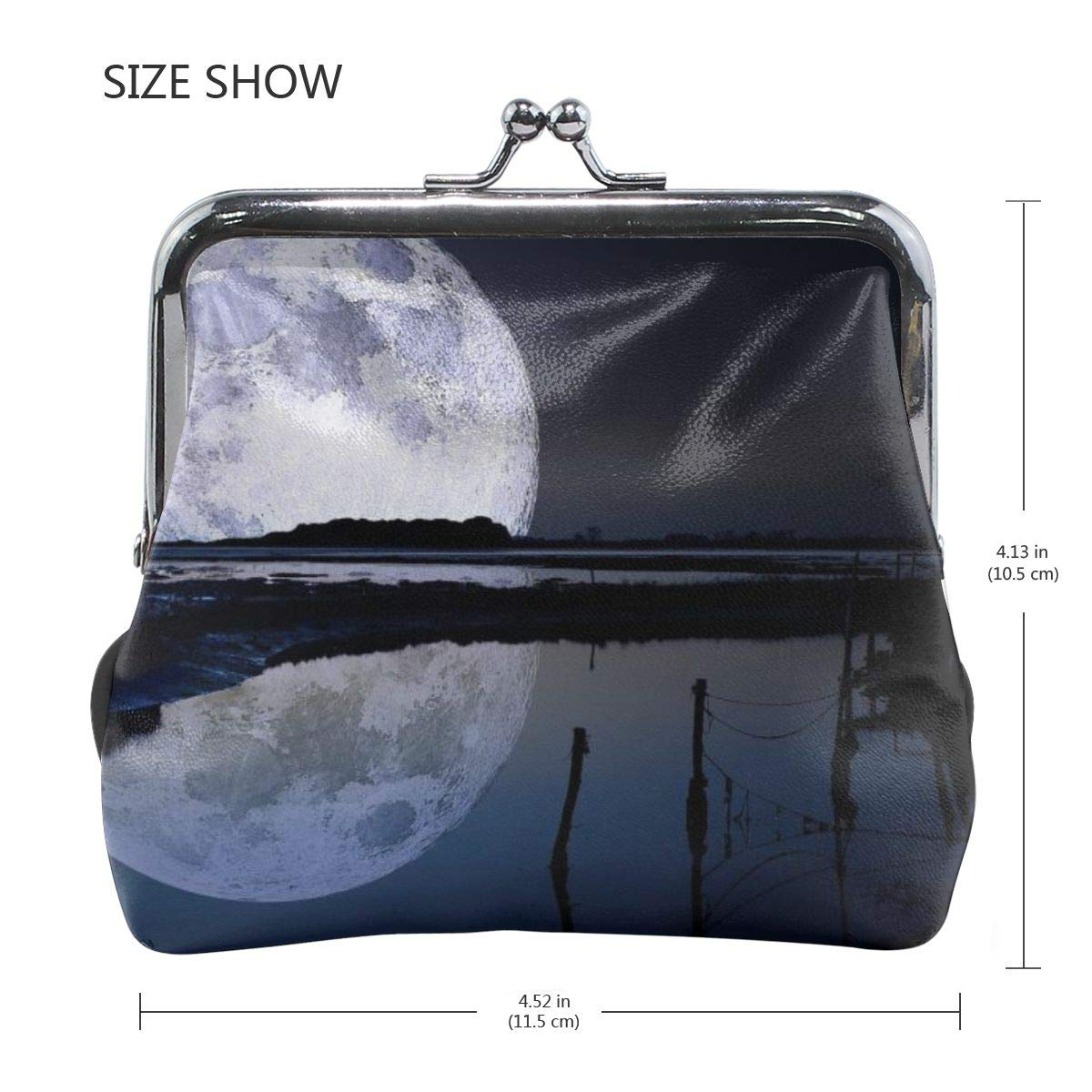 Personality Metal Lock Purse Architd Customized Cute Retro Coin Purse Girl Kiss And Buckle Change Purse Ladys HandbagFull Moon Reflection Wallpaper