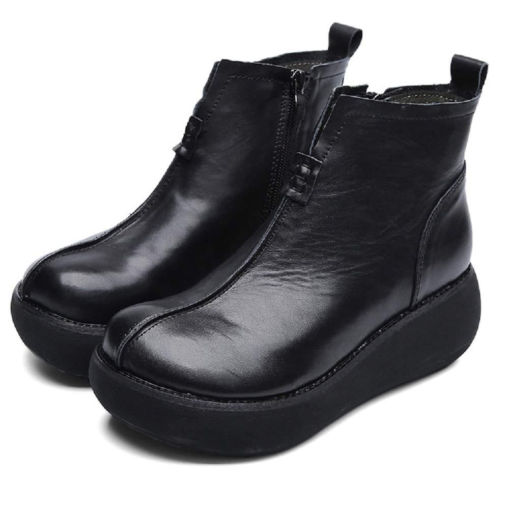Gaslinyuan Plateaustiefel für Damen Zipper Soft Leder Vintage Vintage Vintage Schuhe (Farbe   Schwarz Größe   EU 36) 8b43b6
