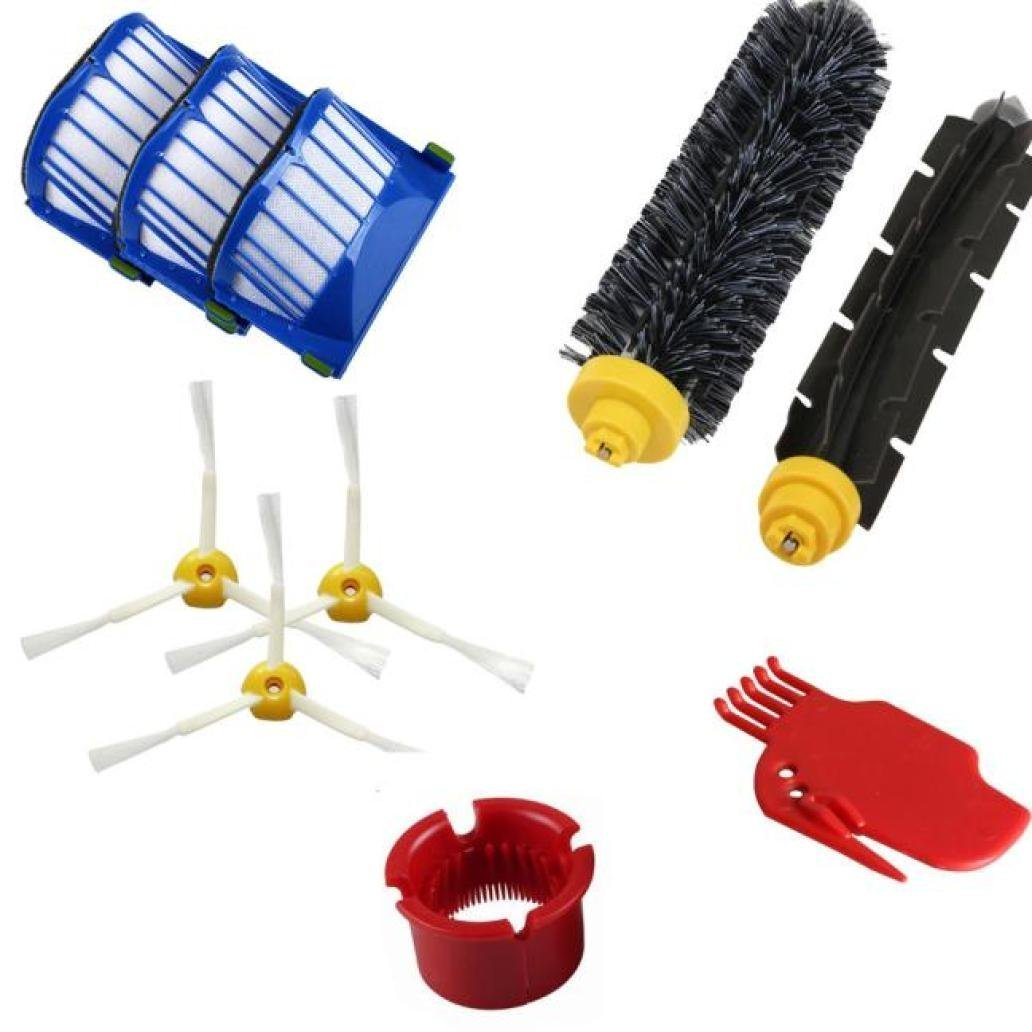 DLD Accessory for Irobot Roomba 600 610 620 650 Series Vacuum Cleaner Replacement Part Kit - Includes 3 Pack Filter, Side Brush, and 1 Pack Bristle Brush and Flexible Beater Brush, 1 Pack Cleaning T