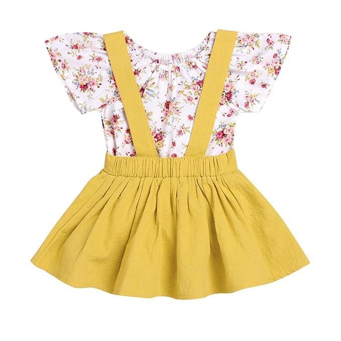 QUICKLYLY 2PCS Faldas para Bebé Niñas Manga Corta Peleles Vestir Vestido Camiseta Mono Mamelucos Verano Rodilla-Longitud: Amazon.es: Ropa y accesorios