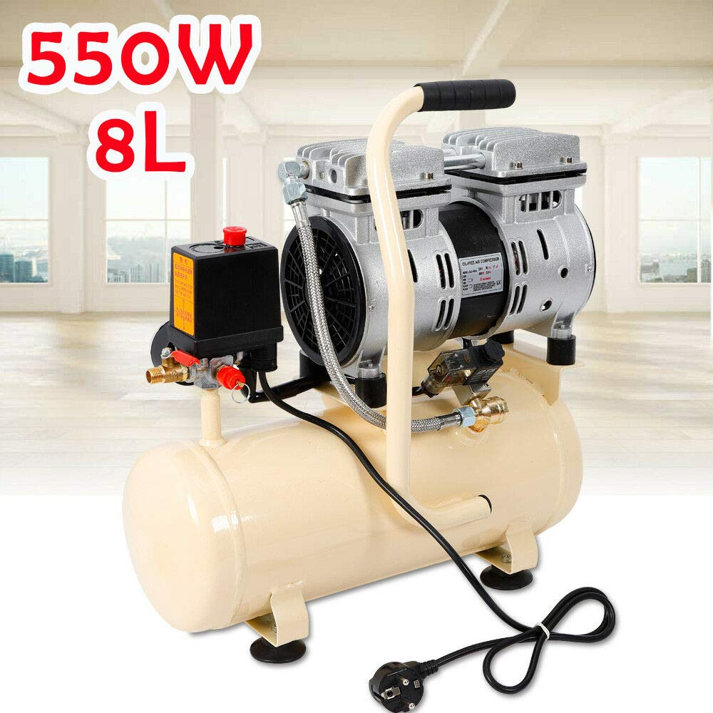 8L compressore ad aria compressa senza olio 1380 giri//min silenzioso 40 l//min DHL! silenzioso 550 W
