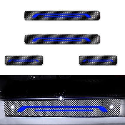 Para Puerta KIA Sportage Ceed Picanto Puerta Sill Protectores De Carbono De Fibra Vinilo Pegatina Azul 4Pcs
