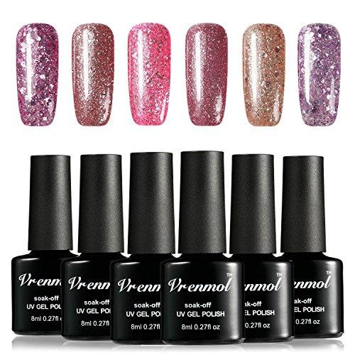 Vrenmol Gel Nail Polish Set Glitter UV Gel Shining Rose Gold