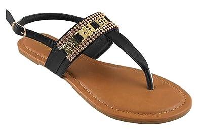 b3c236ecfc9d49 Iynx Cedar-1 Black 7 Rhinestone Embellished T-Strap Flip Flop Thong Sandals  Flats