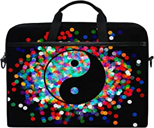 JOKERR Laptop Case Bag Yinyang Confetti 14 inch to 14.5 inch Briefcase Messenger Computer Sleeve Tablet Bag with Shoulder Strap Handle for Boys Girls