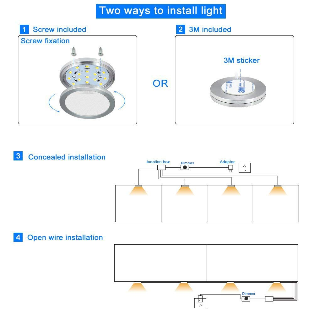 Dimmable Cabinet Lighting Kit 4x Puck Lights 8w 680 Lumen Led Wiring Diagram For Under Counter 6000k White Cefrank Ef080w