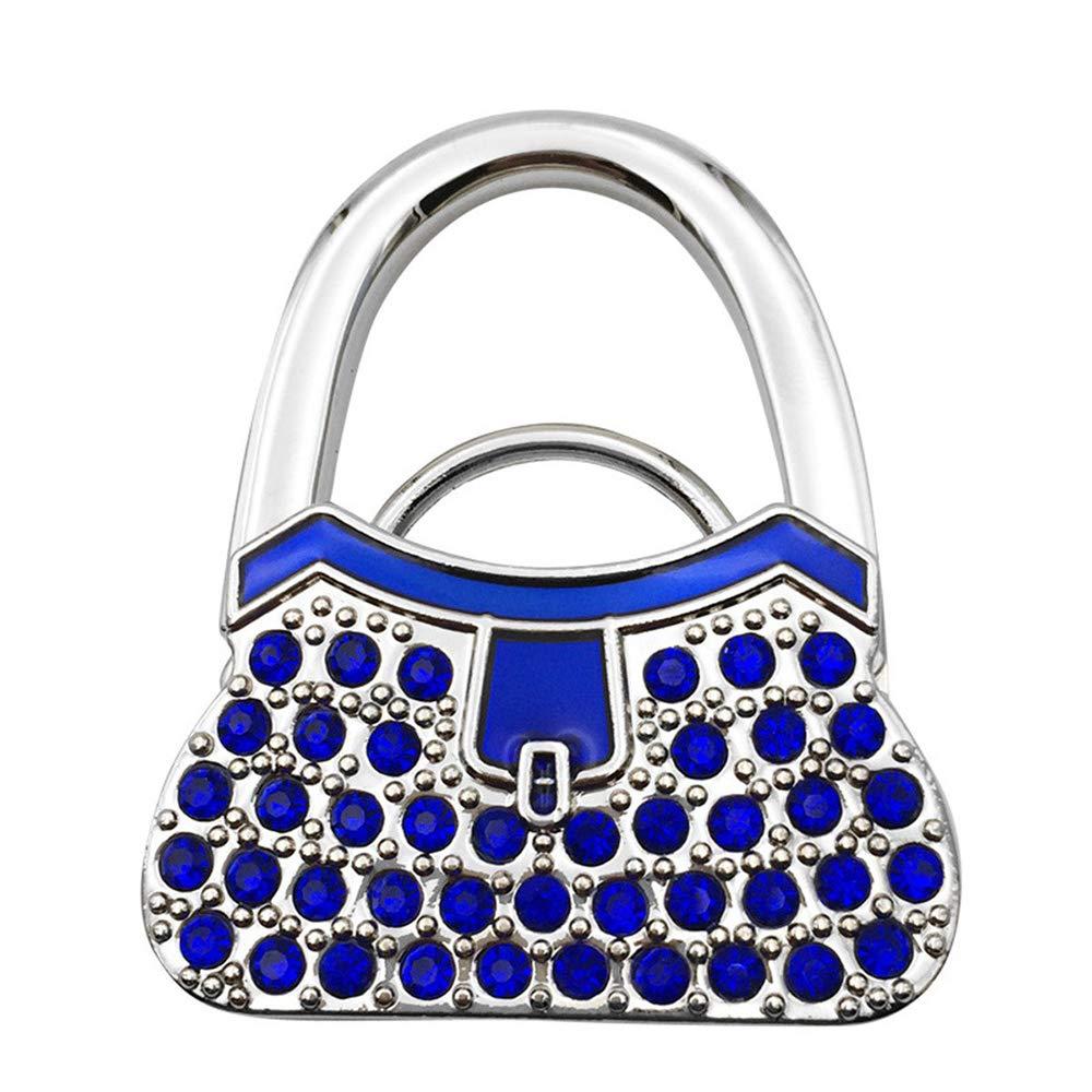 Bycws Purse Hook, Foldable Handbag Purse Hanger Hook Holder for Tables,Blue