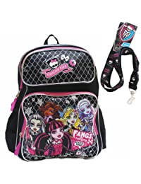 """Monster High Large Black Backpack 16"""" with Lanyard"""
