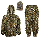 Ghillie Suit 3D Leafy Hooded Camouflage Clothing Outdoor Woodland Hunting Suit Sniper Costume Camo Outfit for Jungle Hunting, Military Game, Wildlife Photography, Halloween (Height 5.-6-5.9 ft)