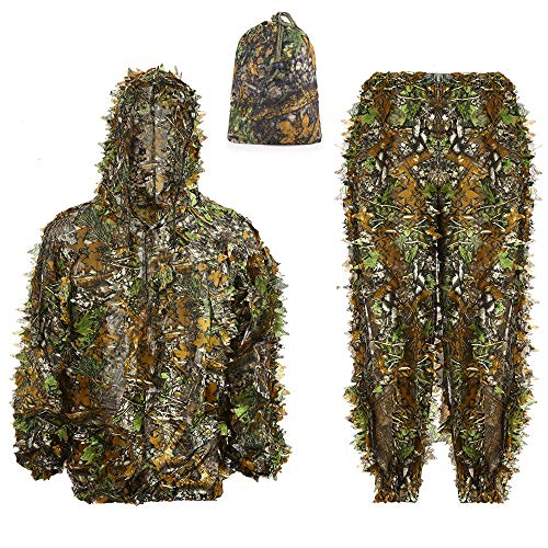 Ghillie Suit 3D Leafy Hooded Camouflage Clothing Outdoor Woodland Hunting Suit Sniper Costume Camo Outfit for Jungle Hunting, Military Game, Wildlife Photography, Halloween (Height 5.9-6.2 ft) (Kids Jungle Costume)