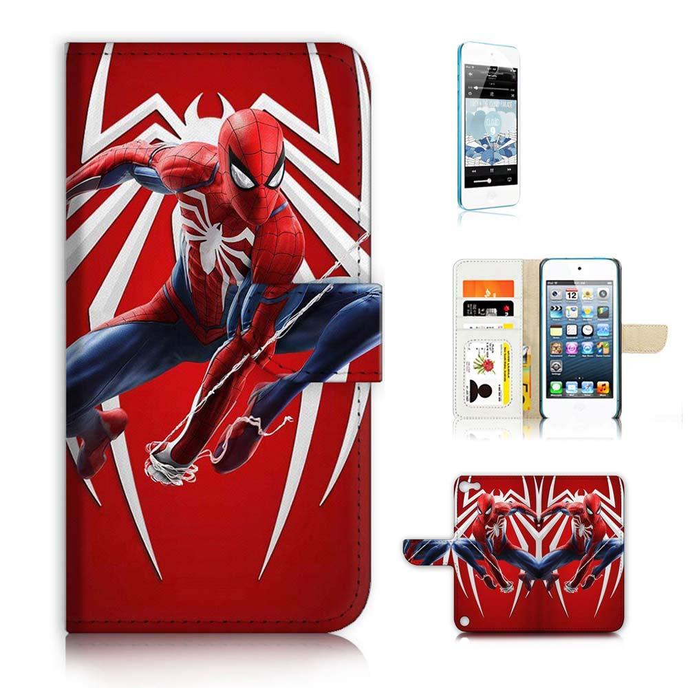 (iPod Touch 5 6 / iTouch 5 6) フリップ財布ケースカバー & スクリーンプロテクターバンドル - A21719 スパイダーマン   B07PVXL1LV
