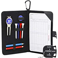 Golf Scorecard Holder n Yardage Book Cover in Genuine Leather - Divot Repair Tool, Ball Marker, Golf Tees, Pencil n Scorecards, Scorer Included - Gift for Golfers by Handy Picks